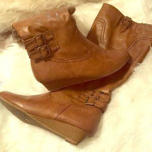 Shoes - Cognac Faux Leather Wedge Boots